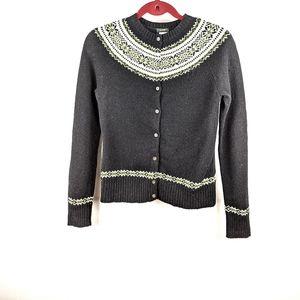 J. Crew Vintage Black Fair Isle Wool Cardigan